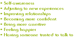 Self-awareness Adjusting to new experiences Improving relationships Becoming more confident Being more assertive Feeling happier Having someone trusted to talk to